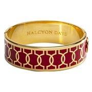 Halcyon Days - Geometric Hinged Bangle Red & Gold 19mm