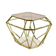 Duke - Siena Side Table Gold Frame With Marble Base