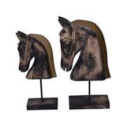 Alianza - Antique Wooden Horse Head Set 2pce