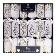 Tom Smith - Deluxe Christmas Crackers Set White & Gold 6pce