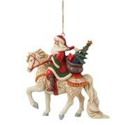 Heartwood Creek - Santa Riding White Horse 10cm
