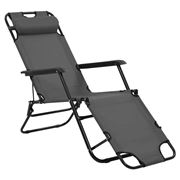 Antibes Outdoor - Folding Sun Loungers W/Footrests Grey 2Pce
