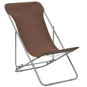 Antibes Outdoor - Folding Beach Chairs W/Oxford Brown 2Pc