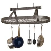 Enclume - Premier Hammered Steel Oval Pot Rack w/ Grid