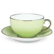 Limoges - Legle Pastel Green Breakfast Cup & Saucer Platinum