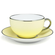 Limoges - Legle Pastel Yellow Breakfast Cup & Saucer Plat