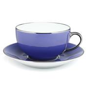 Limoges - Legle Provencal Blue Breakfast Cup & Saucer P/Trim