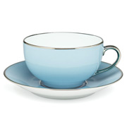 Limoges - Legle Pastel Blue Breakfast Cup & Saucer Platinum