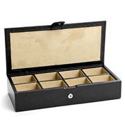 Redd Leather - Crocodile Print Leather Cufflink Box Black