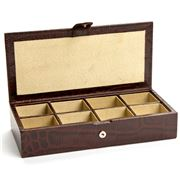 Redd Leather - Crocodile Print Brown Leather Cufflink Box