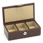 Redd Leather - Croc Print Small Leather Cufflink Box Brown