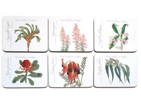 Ashdene Floral Emblems State Flowers Coaster Set 6pce