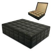 Redd Leather - Quilted Leather Black Jewellery Box