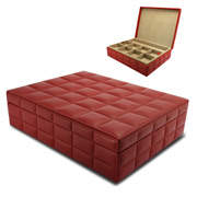 Redd Leather - Quilted Leather Jewellery Box Red