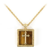 Vatican Library Collection - Gold Tiger Eye Cross Necklace