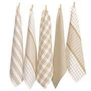 Rans - Milan Stripe & Check Tea Towel Set Taupe 5pce