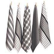 Rans - Milan Stripe & Check Tea Towel Set Black 5pce