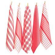 Rans - Milan Stripe & Check Tea Towel Set Red 5pce