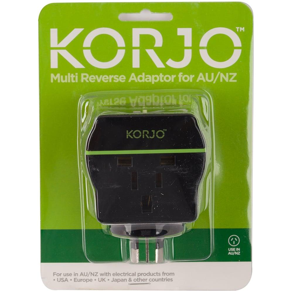 Korjo Multi Reverse Travel Power Adaptor Peters Of Kensington Australian Cords Electrical Plug And Plugs