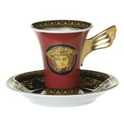 Rosenthal - Versace Medusa Espresso Cup & Saucer Red Set