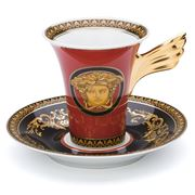Rosenthal - Versace Medusa Red Coffee Cup and Saucer Set