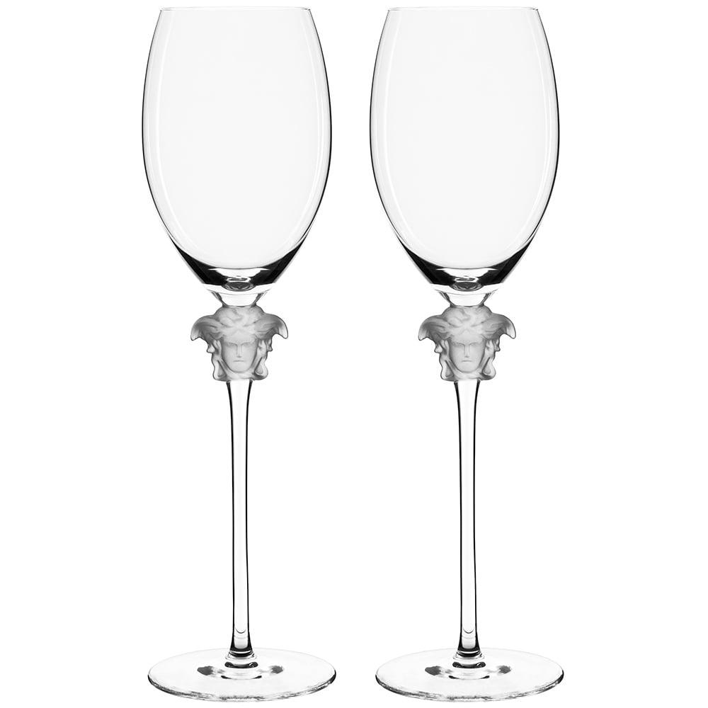 New Rosenthal Versace Medusa Lumiere White Wine Glass Set 2pce