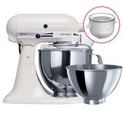 KitchenAid - KSM160 White Mixer w/ Ice Cream Bowl