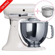 KitchenAid - Artisan KSM150 White Mixer w/ Ice Cream Bowl