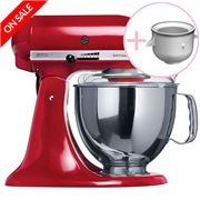 KitchenAid - Artisan KSM150 Empire Red Mixer w/Ice Cream Bwl