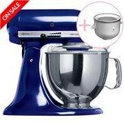 KitchenAid - Artisan KSM150 Cobalt Blue Mixer w/Icecream Bwl