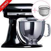 KitchenAid - Artisan KSM150 Black Mixer w/ Ice Cream Bowl