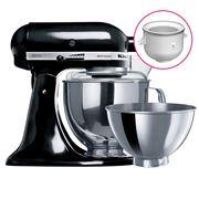 KitchenAid - Artisan KSM160 Onyx Blk Mixer w/ Ice Cream Bowl