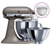 KitchenAid - Artisan KSM160 Cocoa Slv Mixer w/ Icecream Bwl