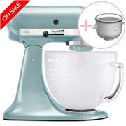 KitchenAid - KSM156 Frosted Azure Mixer with Ice Cream Maker