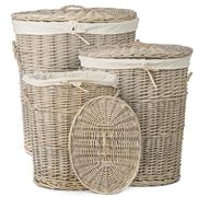 Bullseye - Greywash Willow Oval Basket Set 3pce