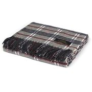 Creswick - Cashmere-Wool Grey Check Fringed Throw Rug