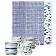 Rick Stein - Stripes & Fish Mug and Tea Towel Set