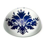 Art In Motion - Indigo Damask White Paperweight