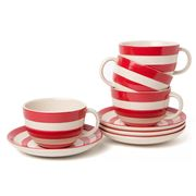 Cornishware - Red Cappuccino Cup & Saucer Set 4pce