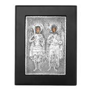 Clarte Icon - Angels Michel & Gabriel in Black Frame 11x13cm
