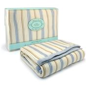 Branberry - Blue Pebble & White Stripe Cot Blanket