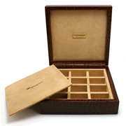 Renzo - Brown Crocodile Leather Cufflink Box 12 Compartments