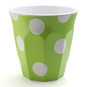 J.A.B. Design - Cafe Cup Lime Green with White Polka Dots