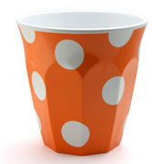 J.A.B. Design - Cafe Cup Orange with White Polka Dots