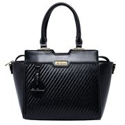 Serenade Leather - Annalise Vegan Leather Woven Bag Black