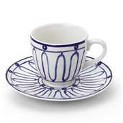 ThemisZ - The Kyma Coffee/Tea Cup and Saucer Blue On White