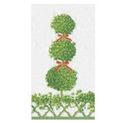 Caspari - Buffet Napkins Topiaries Green Border 15pce