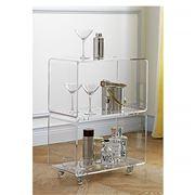 Flair Decor - Acrylic Double Shelf Cart w/Wheels