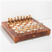 Italfama - Chess Set Brass Chessmen + Elm wood Chessboard