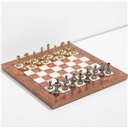 Italfama - Metal Chess Man Elm Chess Board Briar Wood 30cm